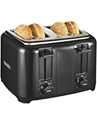 Proctor Silex 24215 Toaster with Wide Slots & Toast Boost, 4-Slice, Black