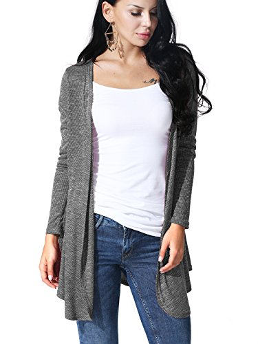 JayJay Women Open Front Casual Knit Long Sleeve Sweater Classic Cover Up Cardigan,Gray,XL