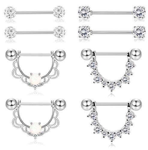 Fiasaso 4 Pairs 14G 316L Stainless Steel Nipplerings CZ Opal Nipple Piercing Barbell Dangle Nipple Rings for Women Silver Tone