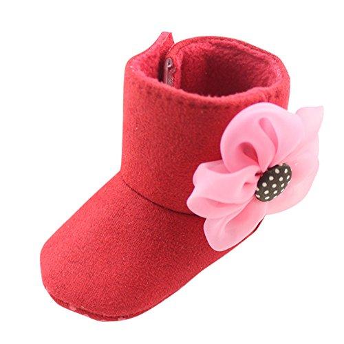 Pretty Niñas Cálido dei Bottini suaves solo flor Snow Boots patines la greppia Prewalker 0-6 mesi Rosa rojo