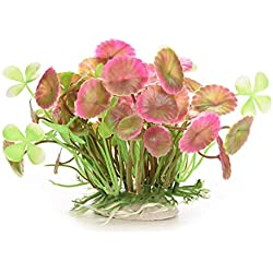 Hot Sale!DEESEE(TM)Aquatic Simulation Plastic Lotus Leaf Grass Pink