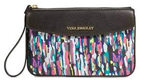 Vera Brushstrokes with Watercolor Trim Bradley in Envelope Wristlet Black ZxwA6qZOr