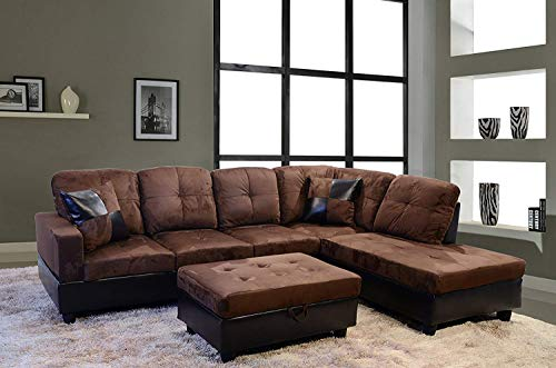 3-Piece Avellino Right Hand Facing Sectional Sofa Set Living Room Couch, Dark Brown