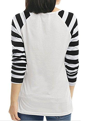 Battercake Camicia Donna Autunno Elegante Manica Lunga A Righe Ragazze Camicie V Neck Casual Sciolto Maglietta Moda Giuntura Top T-Shirt