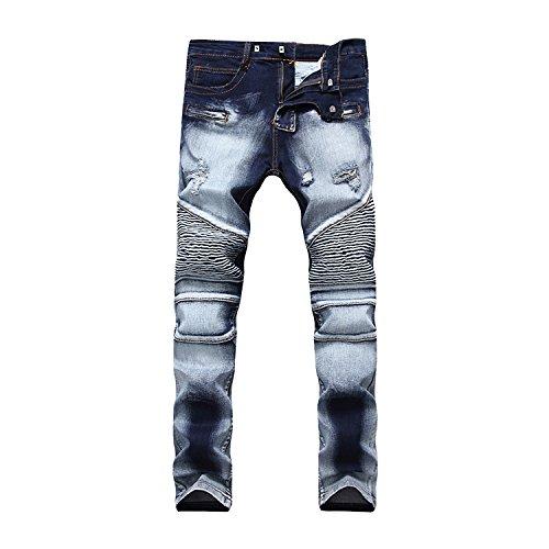 Just No Logo Men's Straight Slim Fit Biker Jeans With Zip(34W) (Zip Jeans)