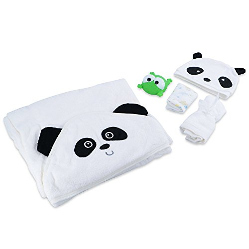 Luxury Baby Hooded Towel and Washcloth Set (Panda) | Super Soft & Absorbent Organic Bamboo for Newborn, Infant, Toddler & Kids | Great Shower Gift | Great for Baby with Sensitive Skin