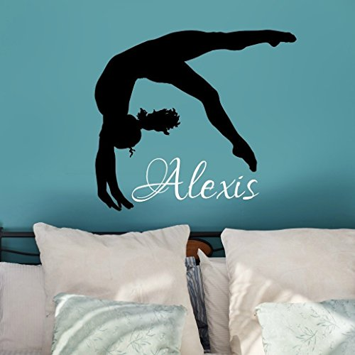 Personalized Gymnastics Wall Decal, Gymnast Silhouette Sticker, Over 30 Colors and Several Sizes