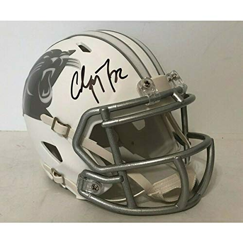 Christian McCaffrey Carolina Panthers Signed Autograph RARE ICE Speed Mini Helmet JSA Witnessed Certified from Mister Mancave