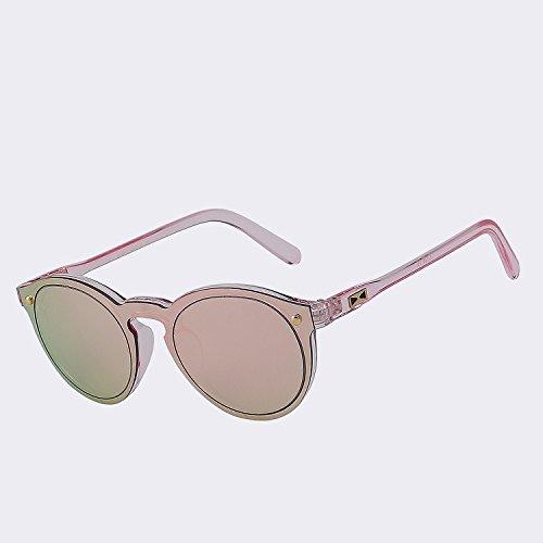 mirror sol Hombre de gafas gafas de Mujer para reborde espejo espejo rojo sin de TIANLIANG04 pink lentes sol Figura redonda UV400 las para mujer wxq0tXtgf