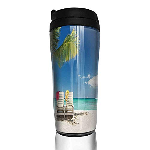 (coffee cups set of Seaside,Relaxing Scene on Remote Beach with Palm Tree,Chairs And Boats Panoramic Picture,Blue Green 12 oz,coffee cup to go for women)