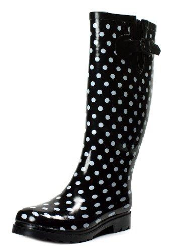 Polka Size Boots Shoes Rain 7 Color Dots Mid Sizes Dot Styles Flat Polka Calf Rainboots Black Women Dot Black Wellies New Rubber dIqWqRBw