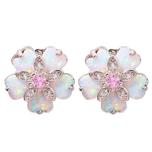 CiNily Created White Fire Opal Pink Topaz Zircon Rhodium Plated for Women Jewelry Gemstone Stud Earrings 15mm