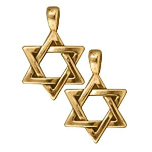 22K Gold Plated Pewter Large Star Of David Pendant 17mm (1)