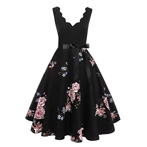 Aunimeifly Women Bow Ribbon Lace-Up Elegant Swing Dress Flower Trim V-Neck Sleeveless Printed Prom Gown Pink