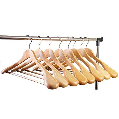 meqution 100% Solid Wooden Extra-Wide Shoulder Wooden Hangers,Set of 8 Wood Coat Suit Hangers for Heavy Coats, Sweater, Skirt, Suit, Pants, Natural Finish -