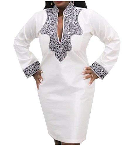 Abetteric Womens V-Neck High Rise African Print Dashiki Vogue Dress