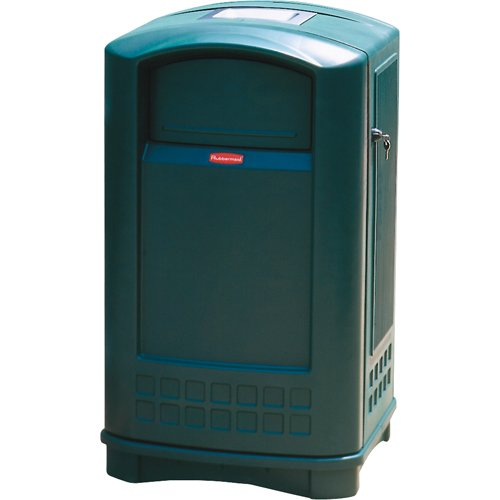 Rubbermaid Commercial Products FG396500DGRN Plaza Series Container with Ashtray (Green, 50-Gallon)