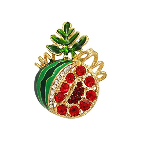 DARLING HER Trendy Enamel and Red Rhinestones Watermelon Brooch Pins Fashion Costume Clothing Jewelry Gifts