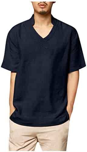 Funnygals Mens Linen T-Shirt Casual Shirts Solid Colour V-Neck 3//4 Sleeve Loose Collarless Tops Blouse 4 Colour
