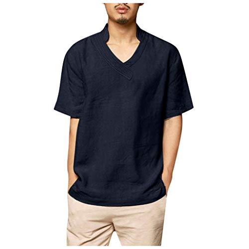 Blouses Shirts Beach Short Sleeve Button Up Tops Lightweight Tees Summer Mandarin Collar Mens (XL,4- Navy)
