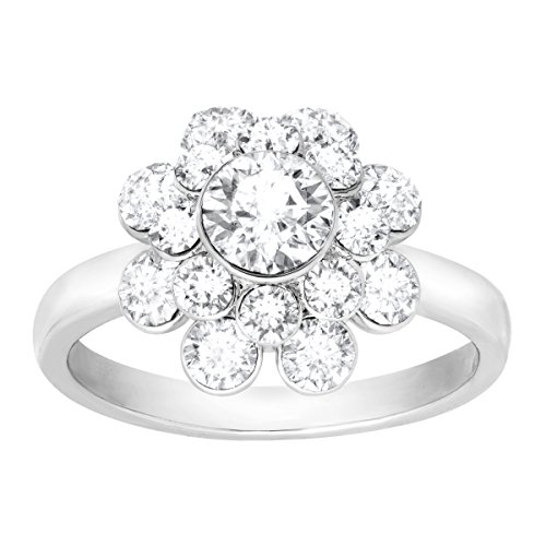 Crystaluxe Flower Ring with Swarovski Crystals in Sterling Silver-Plated Brass Size 5 ()