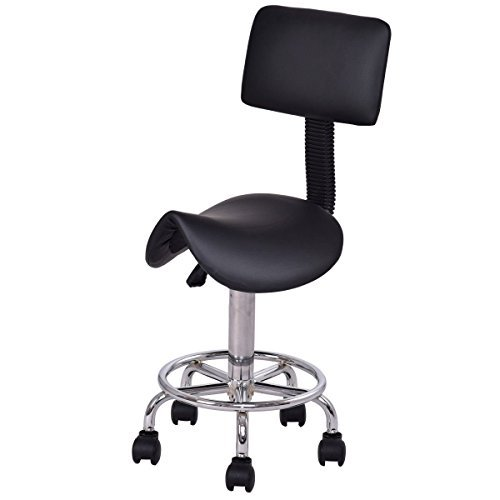 (Beauty Salon Stool Rolling Saddle Chair Adjustable Massage Chair Tattoo Facial Spa with Backrest (Adjustable Hydraulic With Wheel) (Black)...)