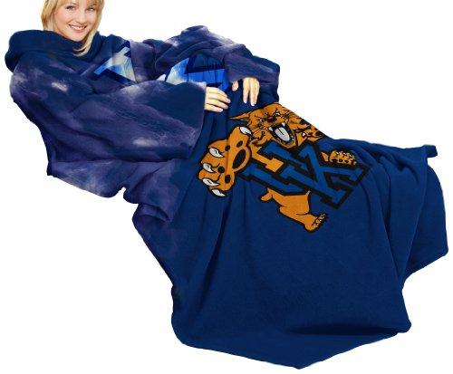 NCAA Kentucky Wildcats Comfy Throw Blanket with Sleeves, Smoke Design ()