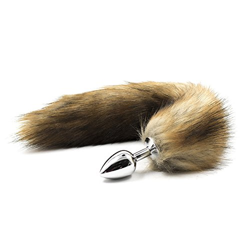 Three Size Faux Fox Tail Metal Anal Butt Plug for Women (Medium, Brown)