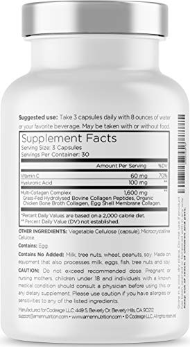 412CPFss6fL - Amen Multi Collagen Pills with Hyaluronic Acid and Vitamin C, 5 Type Hydrolyzed Collagen Protein Peptides, Types I II III V X, 30 Servings, 90 Capsules