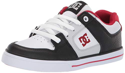 DC Boys' Pure Sneaker, Black/Grey/RED, 4.5 M M US Big Kid