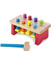 Melissa & Doug Deluxe Pounding Bench Wooden Toy with Mallet, Developmental Toy, Helps Fine Motor Skills, 13.335 cm H x 12.7 cm W x 25.4 cm L