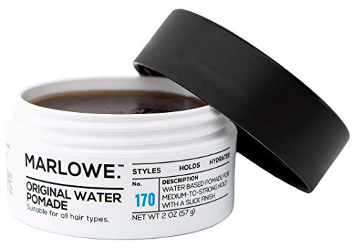MARLOWE. Original Water Pomade for Men No. 170 | 2 oz | Medium to Strong Hold | Slick Finish | Styles, Holds, Hydrates with Natural Ingredients | All Hair Types (The Best Water Based Pomade)