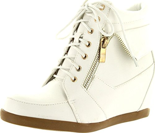TOP Moda Womens Peter-30 Fashion Sneakers,White,10