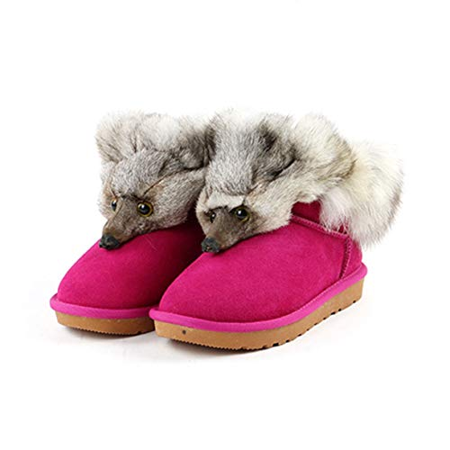 (Women's Fox Fur Flats Short Snow Boots Thick Bottom Plus Size Genuine Leather Female Winter Shoes)