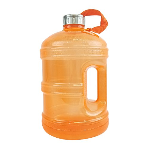 1 Gallon BPA FREE Reusable Plastic Drinking Water Bottle w/ Stainless Steel Cap - Orange