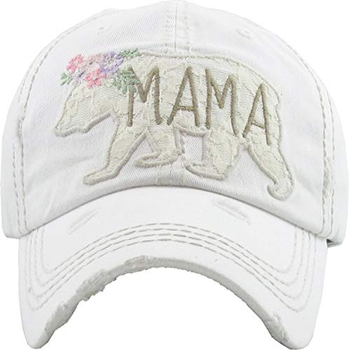 H-212-MBL09 Distressed Baseball Cap Vintage Dad Hat - Mama Bear Lace (White) ()