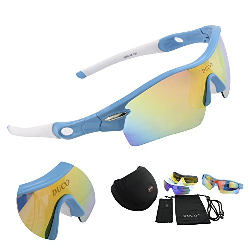 DUCO Polarized Sports Sunglasses with 5 Interchangeable Lenses UV400 Protection Sports Sunglasses for Cycling Running from DUCO