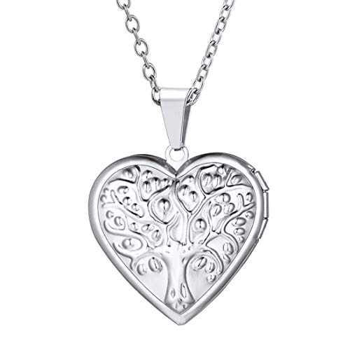 U7 Women Girls TE AMO I Love You Heart Photo Locket Pendant Stainless Steel Rolo Chain 22 Inch Tree of Life Necklace, Wedding/Mother's Day/Birthday Gift