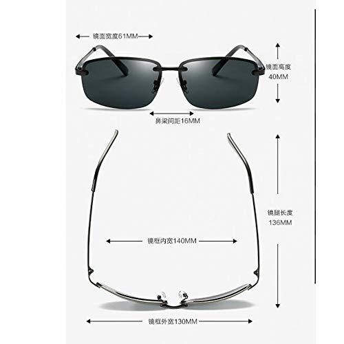 Burenqiq polarizadas piece Gris de de Gafas del Sol de Black Retro Sol frame Gafas de conducción para polarizadas Gafas Pieza gray armazón Hombre Espejo Conductor Sol wrPRw4q