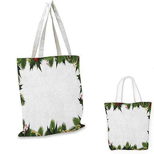 (New Year shopping tote bag Frame Style Garland Pattern Mistletoes Candy Canes and Chain on Fir Tree Motif travel shopping bag Fern Green Red. 16