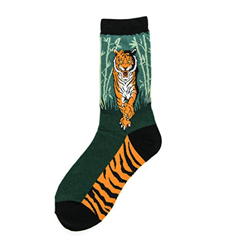 Foot Traffic -Women's Animal-Themed Socks, Tiger (Shoe Sizes 4-10) -