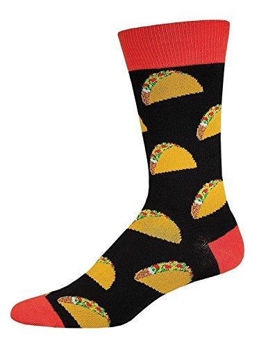 "Socksmith Mens Crew Socks ""Tacos"" Black - One Size"