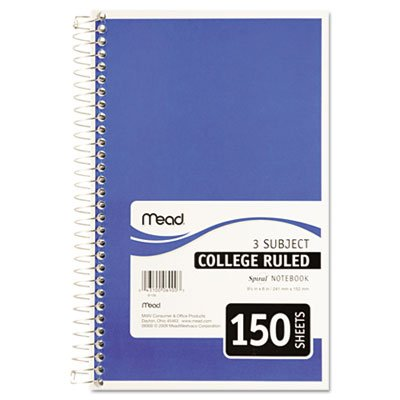 "043100069003 - Mead 3-Subject Wirebound College Ruled Notebook, 9.5"" x 6"" carousel main 3"