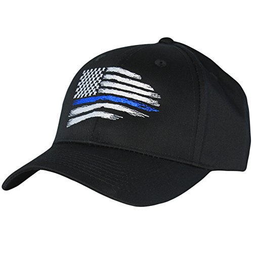 Thin Blue Line USA Flag Mid Profile Hat, Black, One Size Fits Most Adjustable Buckle Strap