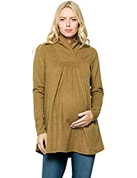 08b82f843f4d7 Maternity Knit Sweater - High Neck Shawl Collar Long Sleeves Tunic Pullover  Top Made in USA