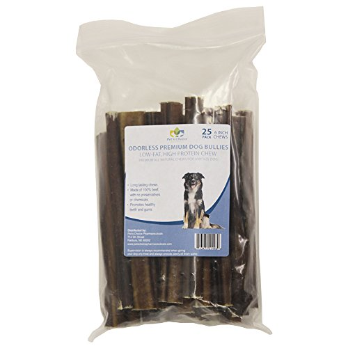 Pet'S Choice Pharmaceuticals 25 Count Premium Odorless Bully Sticks (25 Pack), 6″