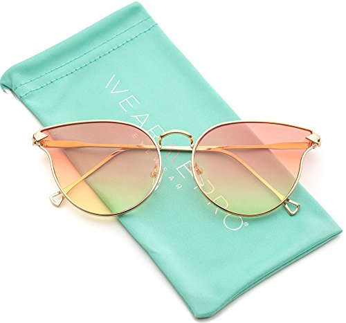 WearMe Pro - Fashion Cat Eye Meta Frame Reflective Sunglasses (Gold Frame / Orange Tinted Lens, - Reflective Orange Sunglasses