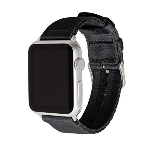 Archer Watch Straps Seat Belt Nylon Watch Bands for Apple Watch (Black, Stainless, 42mm)
