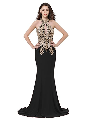 Erosebridal Womens Prom Dresses Long Lace High Neck Evening Gown Sexy Mermaid US 14 - Evening Halter Gown Sheer