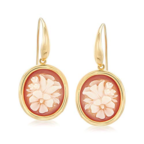 Cameo Earrings Gold - Ross-Simons Italian Floral Shell Cameo Drop Earrings in 18kt Gold Over Sterling